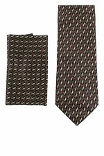 NWB Italo Ferretti 100% Silk Neck Tie Navy/Red/Yellow Geometric + Handkerchief