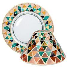 Yankee Candle Corsica Mosaic Orange Green Large Shade and Tray Plate Holder Set