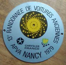 BADGE DE CALANDRE 13e Randonnée de Voitures Anciennes 1979 Nancy APVA
