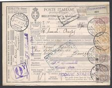 STORIA POSTALE REGNO 1927 Pacchi Postali 5L da Camerano a Jemappes (E7)