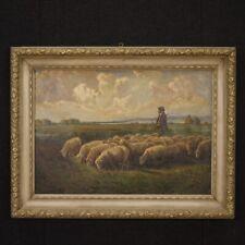Dipinto quadro paesaggio italiano olio su tela cornice laccata stile antico 900