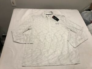 NWT $54.99 Under Armour Mens HG Seamless 1/2 Zip Shirt White Size XL
