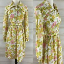 Vintage 50s silk belted floral shirt dress yellow white pink full skirt M