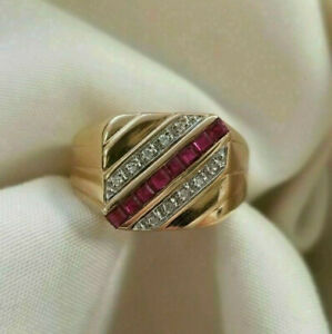 Men's Anniversary Wedding Cocktail Jewelry Band 14k Yellow Gold Over 1.8 Ct Ruby