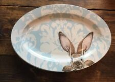 Williams Sonoma Damask Bunny Rabbit Easter Platter NEW