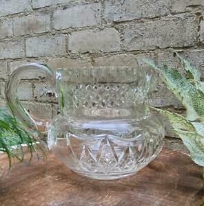 LARGE ANTIQUE GEORGIAN CUT AND SLICED GLASS WATER/WINE JUG 1810/1820