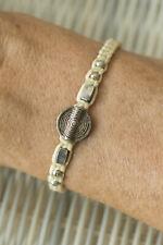 Bracelet amitié ethnique crème  spirale Esprit du Tibet perles bois  métal 21209
