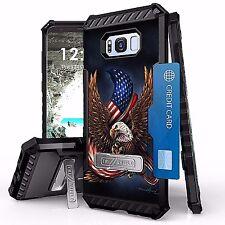 For Galaxy S8 Tri Shield Armor Kickstand Design Cover Case AMERICAN EAGLE