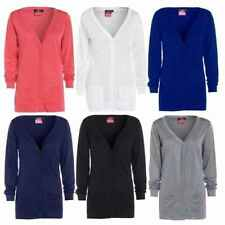 Womens New Button Boyfriend Cardigan Top Ladies Long Sleeve Pocket Cardi 16-26