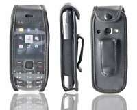 caseroxx Leather-Case with belt clip for Nokia 3720 in black made of real leathe