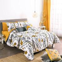Dalia White and Mustard Floral Natural Origin Fabric Reversible Comforter Set