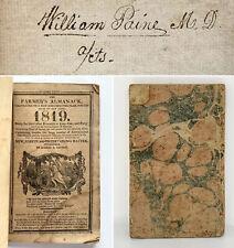 1819 William Paine Handwritten Farming Account Book Notes Worcester Almanack