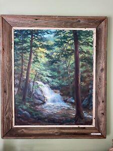 Large Vintage Art 1954 American Oil Painting of Hewitt Falls, NJ by Dr. A. Lahee