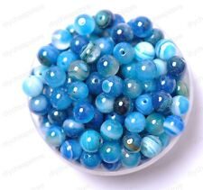 20pcs Blue Stripe Agate Natural Gemstone Round Spacer Loose Beads 8MM #10