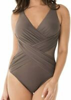 MIRACLESUIT Mineral Illusionists Crossover One Piece Swimsuit, US 14, NWOT