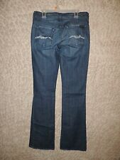 WOMENS-7-FOR-ALL-MANKIND-BOOTCUT-JEANS-SZ-26-DISTRESSED-WHISKER-STRETCH-BLING