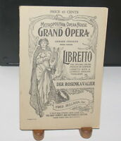 METROPOLITAN GRAND OPERA LIBRETTO DER ROSENKAVALIER FRED RULLMAN E JOHNSON 1912
