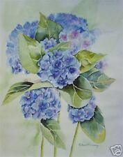 Hydrangea Bouquet, Blue Floral, Watercolor Print