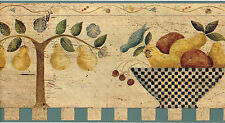 Tuscan Country Vintage Fruit Bowl Kitchen Pear Wall paper Border Carol Endres