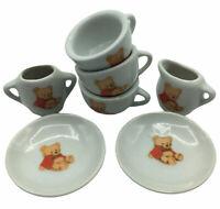 Vintage Child's Porcelain Teddy Bear Tea Set Battat Mini Doll 7 Pieces