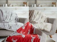 Teddy Bear Stag Fleece  Duvet Cover Set & Printed Throw Cozy Warm Winter Bedding