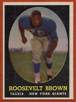 1958 Topps #102 Rosey Brown EX-EXMINT+ MARKED HOF New York Giants FREE SHIPPING