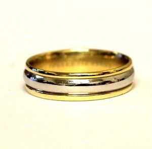 Platinum 18k yellow gold 6.3mm mens comfort fit wedding band ring 9.1g gents 11