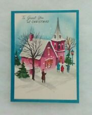 """Vintage Christmas Card - """"To Greet You at Christmas"""" - Snowy Church - Envelope"""