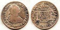 España-Carlos IV. 1/2 Real. 1798. Mexico. VF/MBC. Plata 1,6 g.