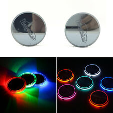 2 x 7 Colors USB Charge Solar Energy Car Cup Holder Bottom Pad Atmosphere Light