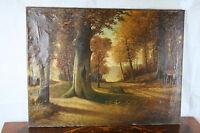 """Oil on Canvas Flemish Dutch AUTUMN forest woods   1960's   31.5x23.6"""""""