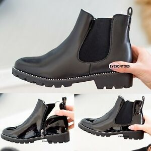 LADIES CHELSEA WARM FAUX FUR LINED WOMENS ANKLE BLOCK CHUNKY HEEL SHOES BOOTS
