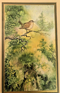 Betty Woodworth Clark Watercolor Momentary Perch Wren Wooded Painting Framed