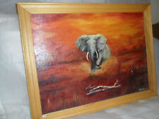 ''OLD BULL ELEPHANT & THE SUN SET'' OIL ON CANVAS PAINTING BY PHILIP WILLIAM LEE