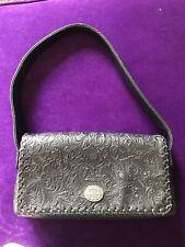 Minnetonka Genuine Tooled Floral Pattern Handbag Purse - Oval Concho - Magnetic
