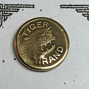 Tiger Head Brand  ~ Brass Pictorial Uniform Work Clothes Overall Button, Wobble