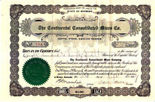 Continantal Consolidated Mines Co. WY 1907 Stock Certificate
