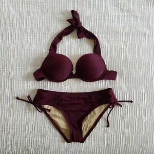 Victoria's Secret Swim BOMBSHELL Add-2-Cups BIKINI Set 32B S Purple Swim H11