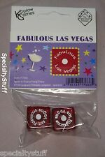 "NEW 1 PAIR FABULOUS LAS VEGAS DICE PKG'D 19mm RED WITH WHITE NUMBERS 3/4"" 1-6 EG"