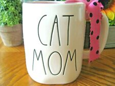 "New Rae Dunn Artisan ""CAT MOM"" ""Farmhouse Large Letter"" Ceramic Coffee Cup Mug"