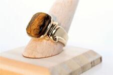 Men's 10K Yellow Gold RomanSoldier Intaglio Tiger's Eye Ring, Size10.5, 9.4Grams