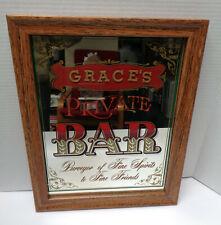 "Grace's Private Bar Mirror Man Cave 12"" x 16"" Bar Sign!"