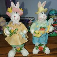 2 Easter Bunny Rabbit's  for Easter Day Boy and Girl Resin Figurines
