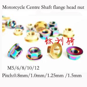 4pcs Motorcycle TC4 Titanium Flange Screw Nut M5M6 M8 M10 M12 Multi Thread Pitch