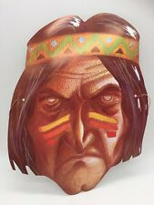 Vintage Halloween Mask Paper Card Native American Indian Horror Creepy Scary Art