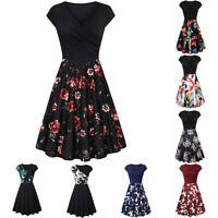 Ladies Women's Short Sleeve Cross V- Neck Dresses Elegant Flared A-Line Dresses