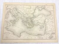 1877 Antique Map of Ancient Greece Greek Empire Colonies Hand Coloured French