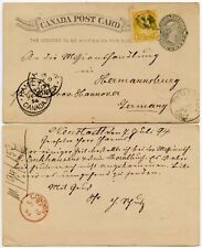 CANADA STATIONERY 1c + SMALL QUEEN 1c UPRATED 1894 HAMILTON to GERMANY via GB