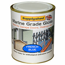 Supplyshed GLOSS FRENCH BLUE GARAGE DOOR PAINT for Fibreglass and Metal 750ml