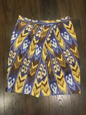 Tory Burch Yellow, Brown & Blue Print A-line Skirt, Size 12